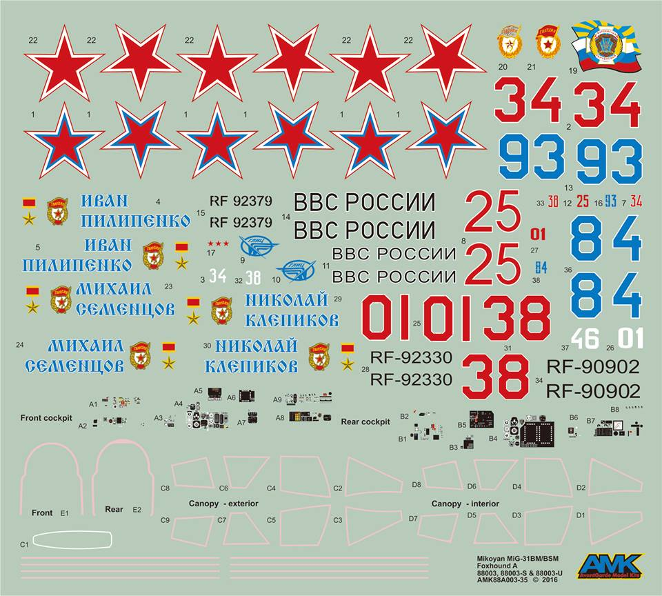 Декаль AMK 1/48 Mikoyan MiG31 BM/BSM Foxhound Limited Edition