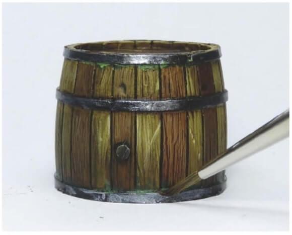 Рисуем мох - Красим деревянные бочки - пошаговый гайд