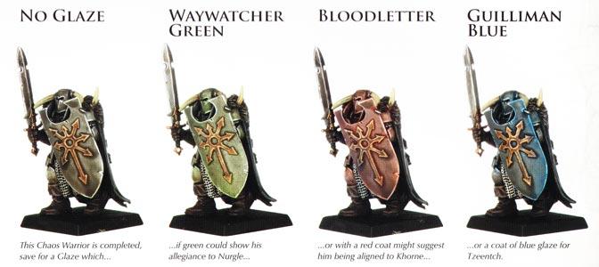 Три примера использования Citadel Glaze на один базовый цвет.